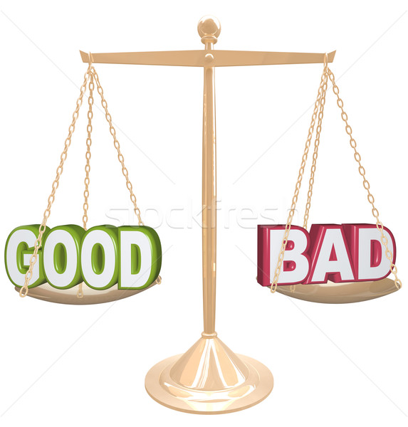 Good vs Bad Words on Scale Weighing Positives vs Negatives Stock photo © iqoncept