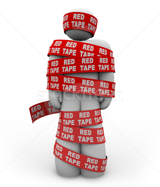 Person Wrapped Up in Red Tape of Bureaucracy Rules of Order Stock photo © iqoncept