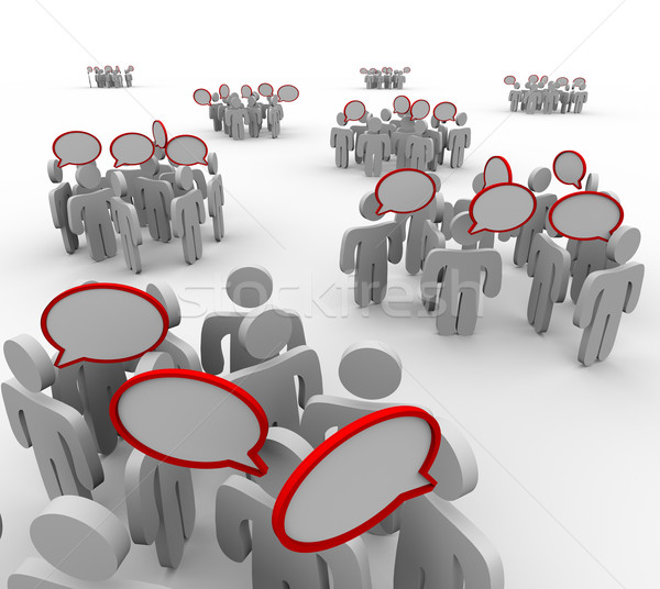 Groups Talking Speech Bubbles Audiences Conversations Stock photo © iqoncept