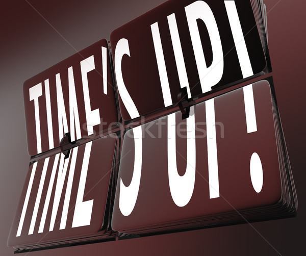 Time's Up Words Retro Clock Flipping Tiles Deadline Stock photo © iqoncept