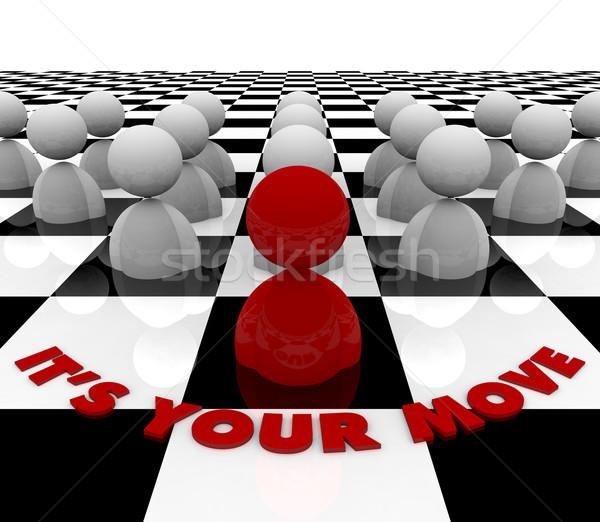 Hareket satranç tahtası kırmızı anlamaya sonraki iş Stok fotoğraf © iqoncept