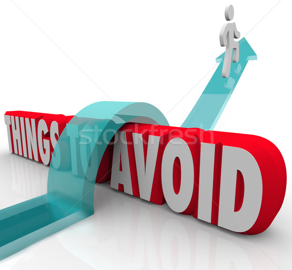 Things to Avoid Person Jumping Over Problem Obstacle Stock photo © iqoncept
