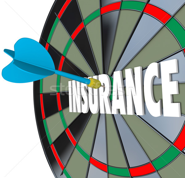 Insurance Dart Board Word Choosing Best Policy Plan Coverage Stock photo © iqoncept