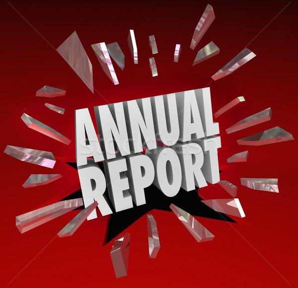 Annual Report Words Break Through Glass Surprise Shocking Financ Stock photo © iqoncept