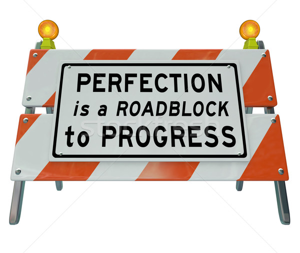 Photo stock: Perfectionnement · progrès · barricader · signe · mots · construction · de · routes