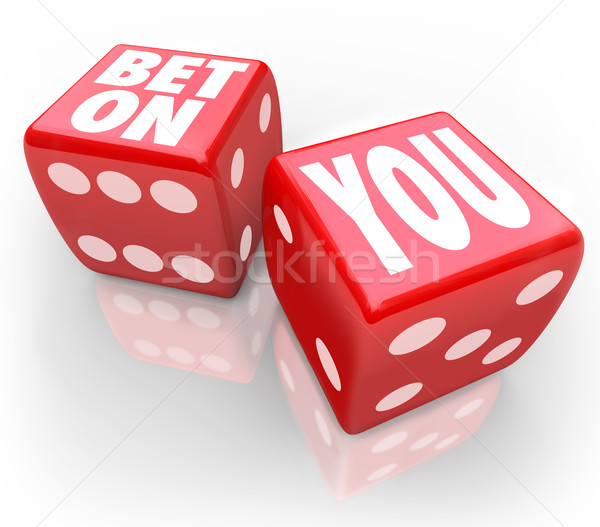 Bet On You Two Dice Self Confidence Follow Your Dreams Stock photo © iqoncept