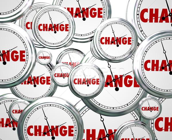 Verandering klokken tijd innovatie evolutie toekomst Stockfoto © iqoncept