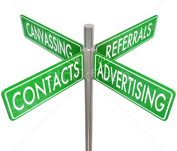 Contacts Advertising Canvassing Referrals Road Signs Finding New Stock photo © iqoncept