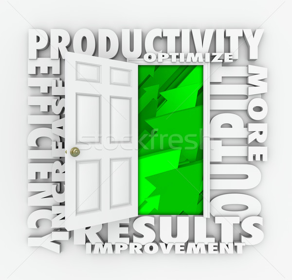 Stock photo: Productivity Efficiency 3d Word Door Improve Results Output