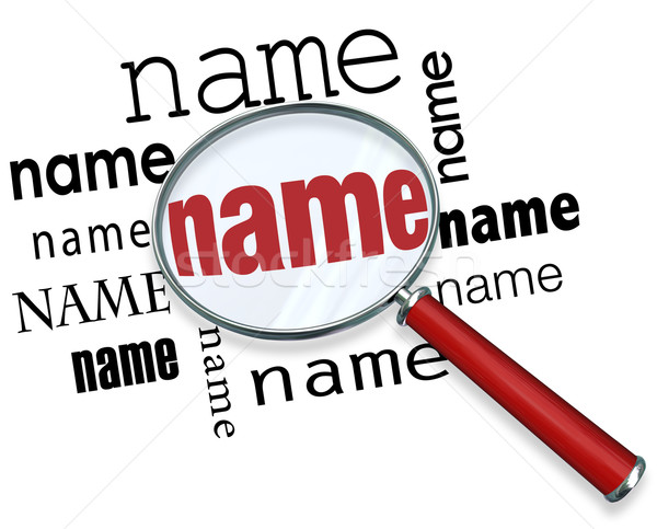 Name Words Under Magnifying Glass Searching Finding People Stock photo © iqoncept