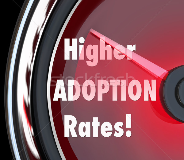 Higher Adoption Rates Speedometer Reasure Rising Acceptance Leve Stock photo © iqoncept