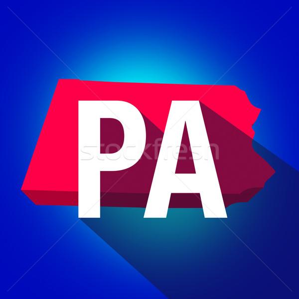 Pennsylvania brieven afkorting Rood 3D kaart Stockfoto © iqoncept