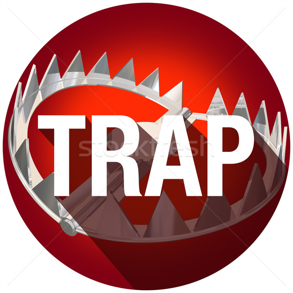 Stock photo: Steel Bear Trap Long Shadow Word Caught Danger Risk Circle