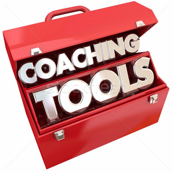Stock fotó: Edzés · szerszámok · csapatépítés · irányítás · szerszámosláda · 3d · illusztráció