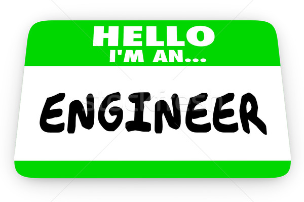 Engineer Job Career Hello Name Tag Sticker 3d Illustration Stock photo © iqoncept