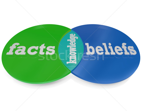 Knowledge is Where Facts and Beliefs Overlap Venn Diagram Stock photo © iqoncept