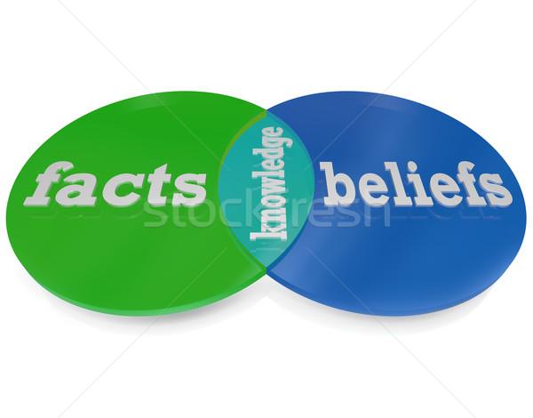 Conhecimento fatos diagrama dois círculos Foto stock © iqoncept