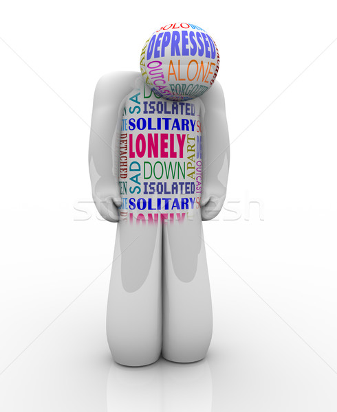 One Lonely Person Sad Depressed in Loneliness Stock photo © iqoncept