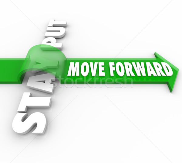 Stay Put Vs Move Forward Words Arrow Progress to Goal Stock photo © iqoncept
