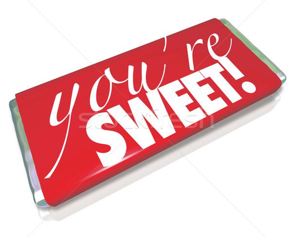 Sweet mots rouge bonbons bar sentiment Photo stock © iqoncept