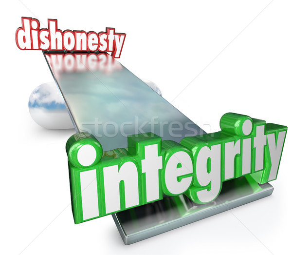 Integrity Vs Dishonesty Words Scale Balance Opposites Stock photo © iqoncept