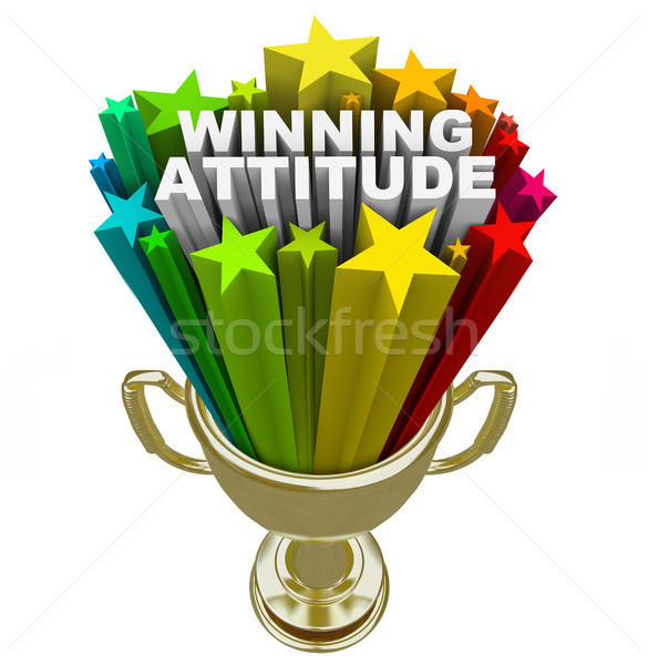 Winning Attitude Gold Trophy Stars Fireworks Good Vision Stock photo © iqoncept