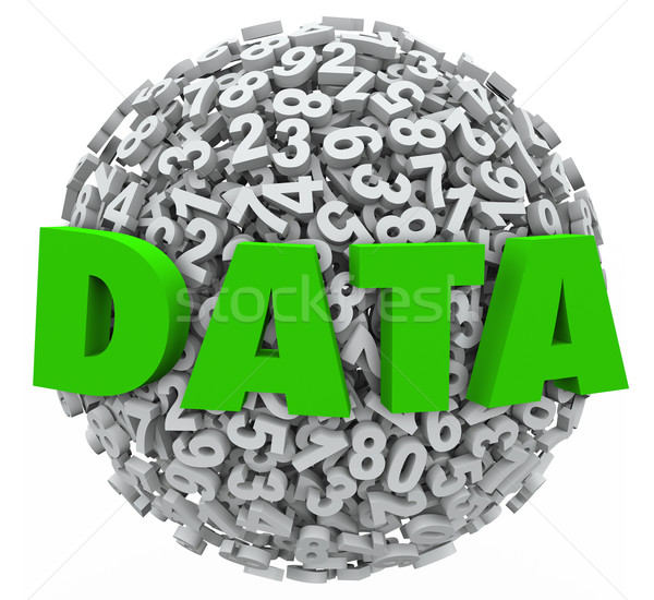 Data Word Number Sphere Research Results Information Evidence Stock photo © iqoncept