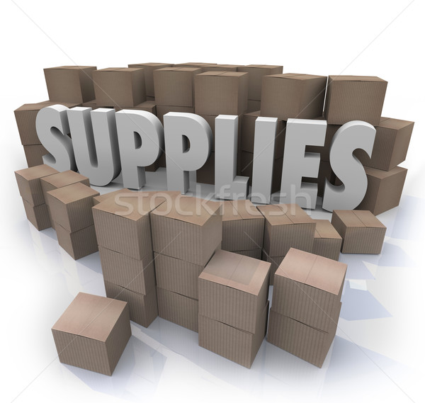 Supplies Cardboard Boxes Food Material Resources Needed Stock Ro Stock photo © iqoncept