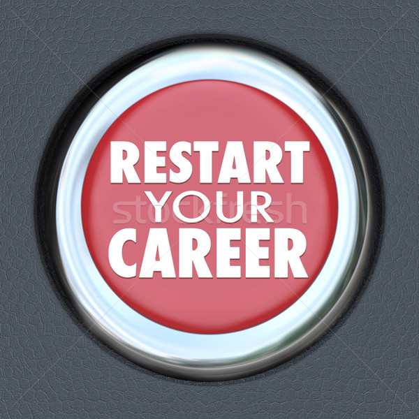 Restart Your Career Red Car Button New Job Work Employee Stock photo © iqoncept