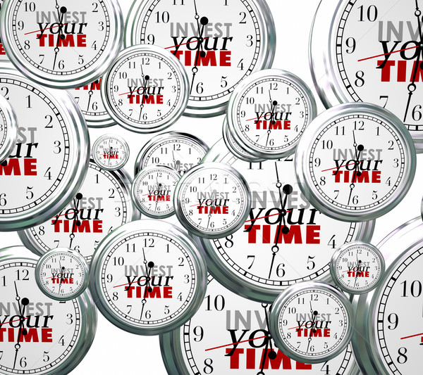 Invest Your Time Many Clocks Competing Priorities Jobs Tasks Stock photo © iqoncept