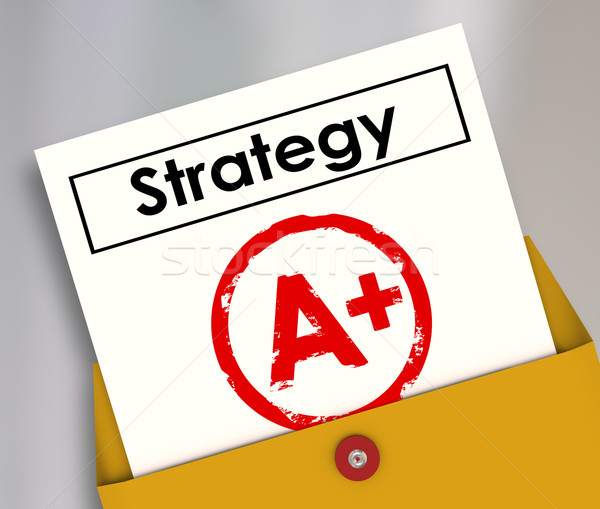 Stock photo: Strategy Document A Plus Grade Great Successful Plan Review