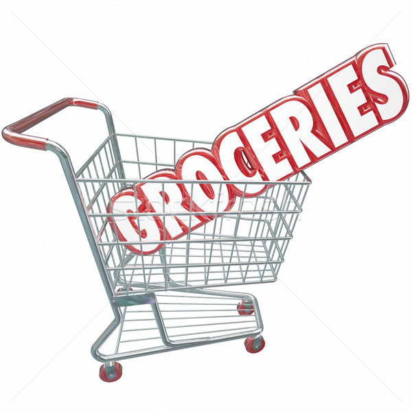 Groceries Shopping Cart Word Store Food Products Stock photo © iqoncept