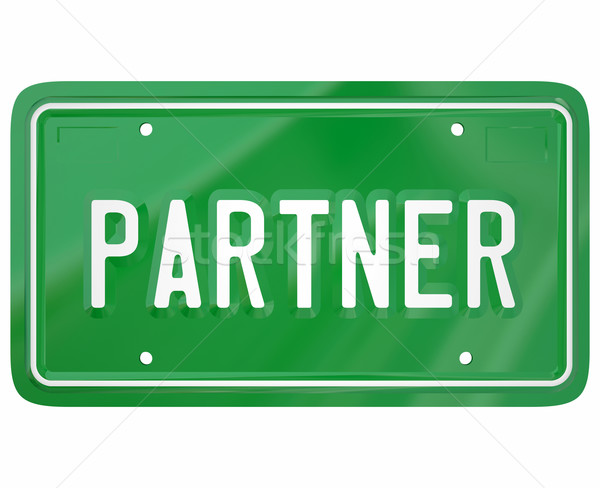 Partner Word Green License Plate Join Group Firm Association Stock photo © iqoncept
