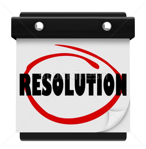 Auflösung Neujahr Versprechen Ziel Mission Wort Stock foto © iqoncept