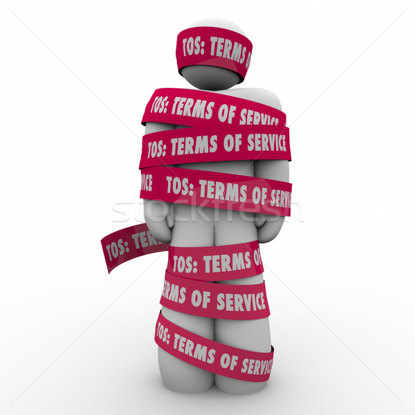 TOS Terms of Service Man Wrapped in Tape Contract Restriction Stock photo © iqoncept
