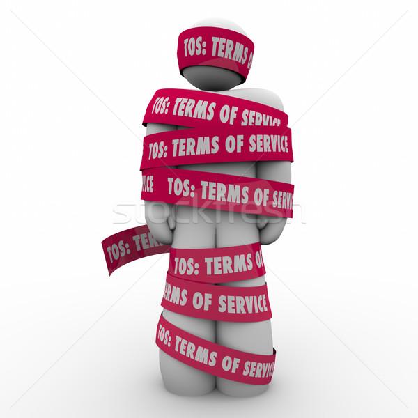 Szolgáltatás férfi szalag szerződés szavak bürokrácia Stock fotó © iqoncept
