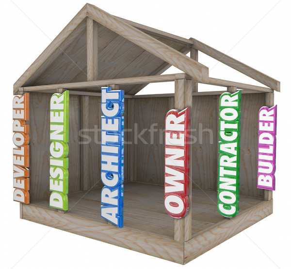 Architect Builder Developer Designer House Home Beams Frame Stock photo © iqoncept