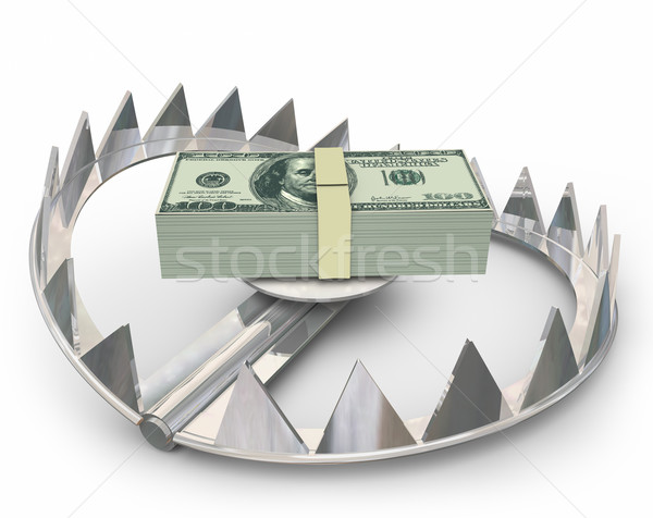 Money Steel Bear Trap Lure Customers High Interest Loan Catch Ba Stock photo © iqoncept