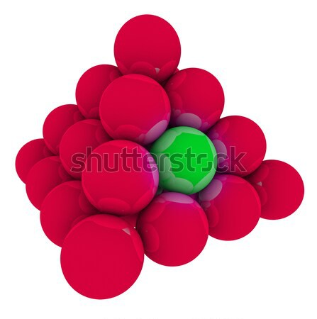 Green Ball in Red Sphere Pyramid Stack Stock photo © iqoncept