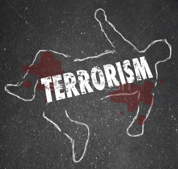 Terrorism Dead Body Chalk Outline Murder Killed Casualty Victim Stock photo © iqoncept