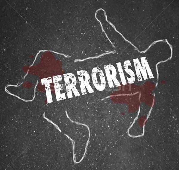 Terrorisme lijk krijt schets moord slachtoffer Stockfoto © iqoncept