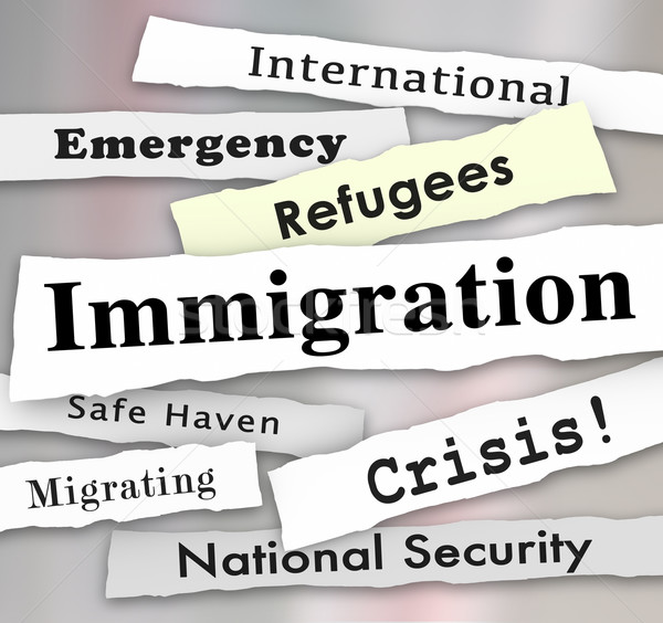 Immigration Refugee Crisis Newspaper Headlines Stock photo © iqoncept