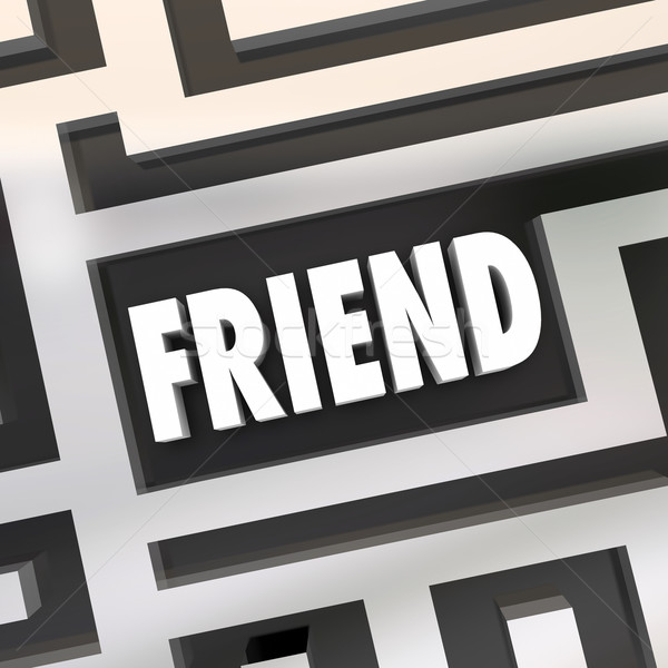 Friend Word Friendship Finding Companion Lost Found Maze Stock photo © iqoncept
