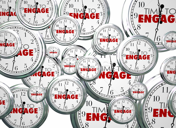 Time to Engage Clocks Interact Get Involved 3d Illustration Stock photo © iqoncept