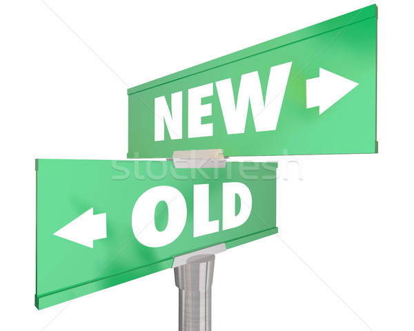 New Vs Old Two 2 Way Road Street Signs 3d Illustration Stock photo © iqoncept