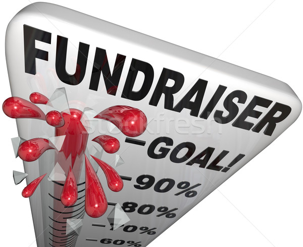 Stock photo: Fundraiser Thermometer Tracks Goal Reached Success