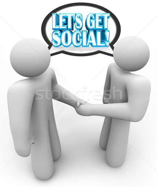 Stok fotoğraf: Sosyal · iki · kişi · toplantı · konuşma · el · sıkışma · el · sıkışmak