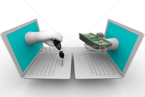 Buying a Car Online - Hands and Key in Laptops Stock photo © iqoncept