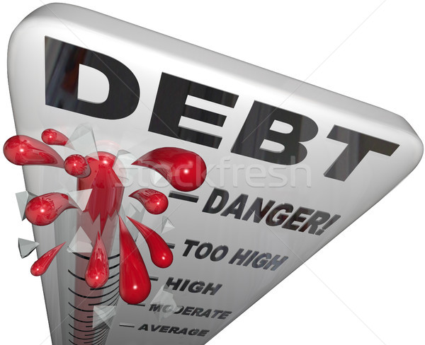 Debt Thermometer Deficit Rising Overspending Danger Stock photo © iqoncept