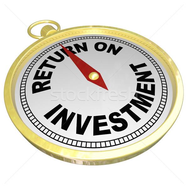 Voltar investimento bússola indicação roi dinheiro Foto stock © iqoncept